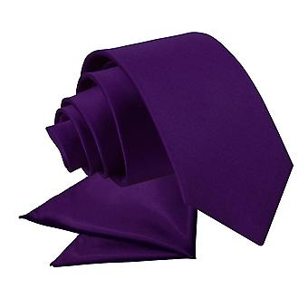 Purple Plain Satin Tie & Pocket Square Set for Boys
