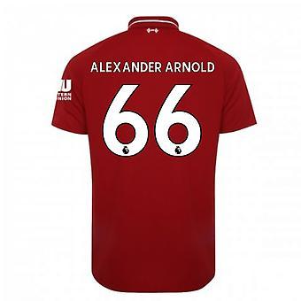 2018-2019年リバプール ホーム サッカー シャツ (アレクサンダー アーノルド 66) - 子供します。