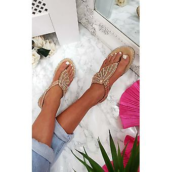IKRUSH Womens Orlagh Diamante Embellished Sandals