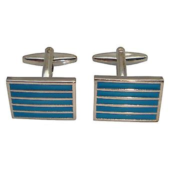 Bassin and Brown Horizontal Line Cufflinks - Blue/Silver