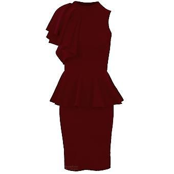 4a6700d3add4 Damer ärmlös hög hals Frill axel Women's Peplum Bodycon festklänning