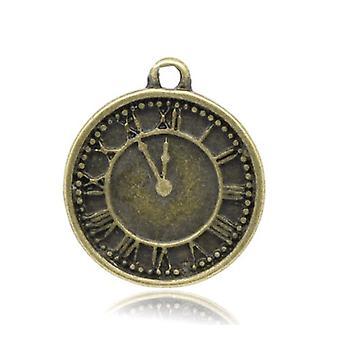 Packet 10 x Steampunk Antique Bronze Tibetan 19mm Clock Charm/Pendant ZX05785