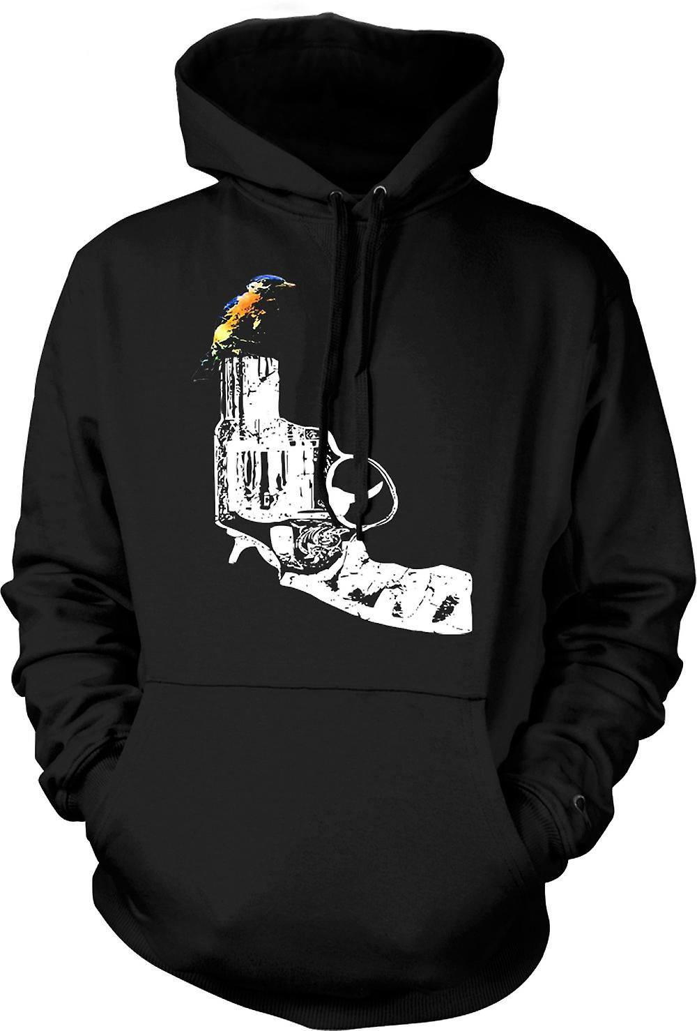 Kids Hoodie - Kingfisher On Pistol - Cool Gun Design