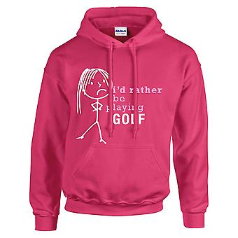 Ladies I'd Rather Be Playing Golf Hoodie Hot Pink Hoody