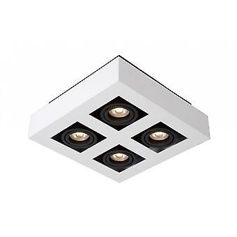 Lucide Xirax moderna rektangel aluminium vit och svart tak plats ljus