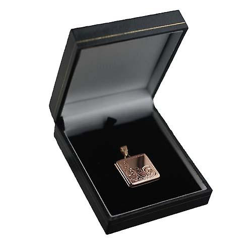 9ct Rose Gold 22mm half hand engraved flat square Locket