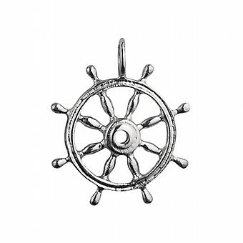 Silver 28mm solid Ships Wheel Pendant or Charm