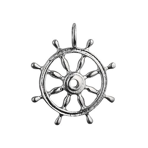 Silver 28mm solid Ships wheel charm