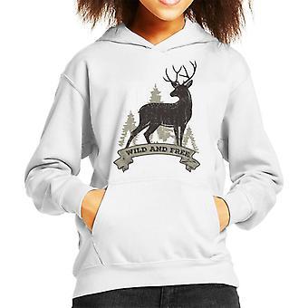 Wild And Free Deer Kid's Hooded Sweatshirt
