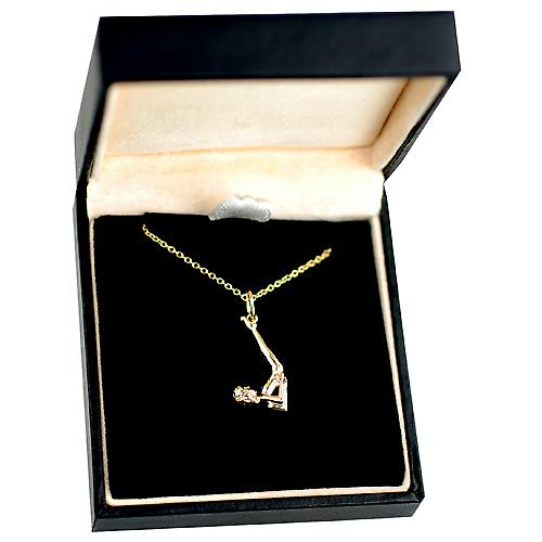 9ct Gold 22x10mm Sarvangasana Yoga Position Pendant with a cable Chain 16 inches Only Suitable for Children