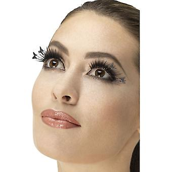 Eyelashes, Winged Butterfly, Black, Contains Glue Fancy Dress Accessory