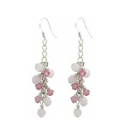 Sterling Earrings w/ Rose Crystals & Rose QuartzStone Earrings