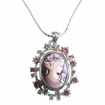 Amethyst Cameo Lady Pendant Sparkling Amethyst Crystals Necklace