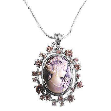 Amethyst Cameo Lady Pendant Sparkling Amethyst Crystals Necklace