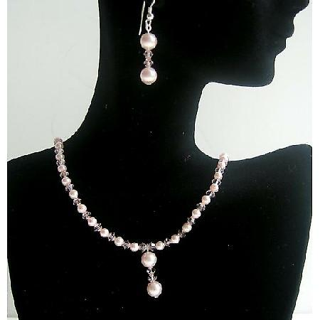 Pink Pearls & Crystals Necklace & Earrings Swarovski Handmade Jewelry