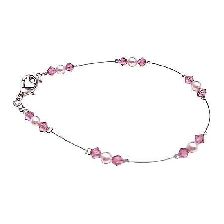 Bridesmaid Rose Pearls Swarovski Rose Crystals Prom Jewelry Bracelet