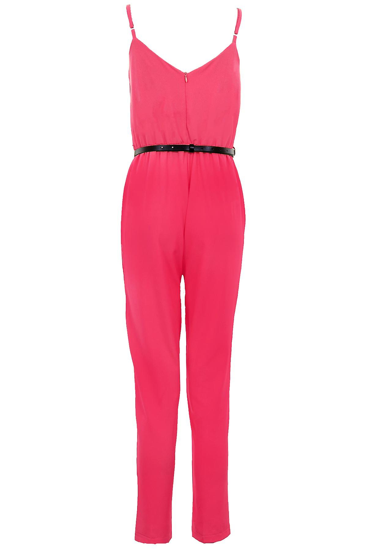 Ladies Sleeveless Cami Gold Belted Plain Women's All In One Party Crepe Jumpsuit