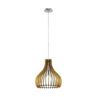 Eglo - Tindori singolo piccolo soffitto luce pendente in finitura nichel satinato con Maple Shade in legno EG96258