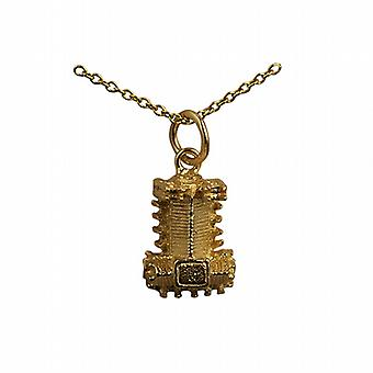 9ct Gold 10x13mm hollow Westminster Abbey Pendant with a cable Chain 16 inches Only Suitable for Children