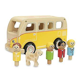 Indaco Jamm Casey Camper furgoni, retrò classico giocattolo in legno con tetto rimovibile e passeggeri
