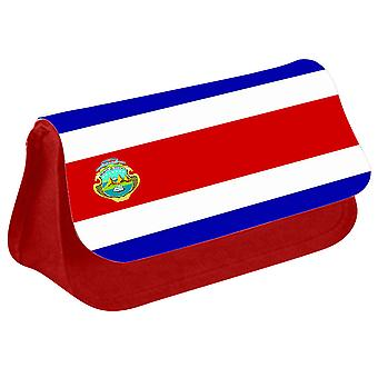 Costa Rica Flag Printed Design Pencil Case for Stationary/Cosmetic - 0041 (Red) by i-Tronixs