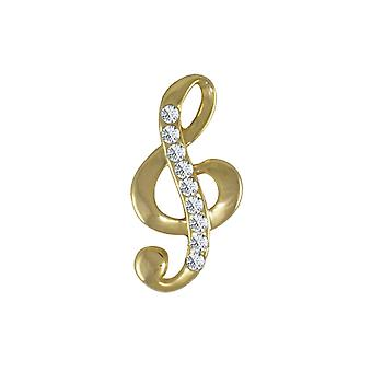 Eternal Collection Melody Austrian Crystal Gold Tone Treble Clef Brooch