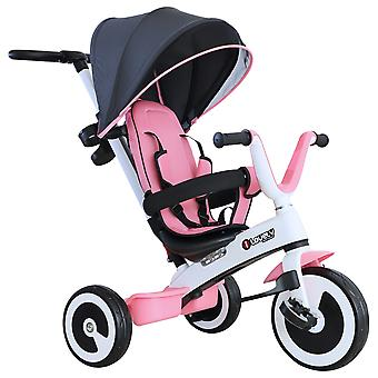 HOMCOM Baby Tricycle Children's Trike 4 In 1 Stroller Canopy 3 Wheels Ride On Safety Guard Pink