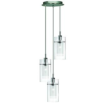 Duo I - Ss Double verre 3 pendentif lumineux
