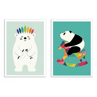 2 art-affischer 30 x 40 cm-baby pandor och isbjörnar-Andy Westface
