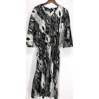 Dennis Basso Painterly Print Batwing Sleeve Robe noire / Gray A223469