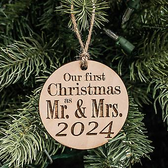 Ornament - 2024 our first christmas as mr and mrs - raw wood 3x3in