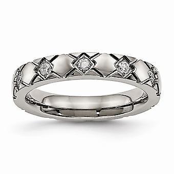 4mm titanio lucidata incrociato scanalato zirconi Anello - anello Dimensione: 6-13