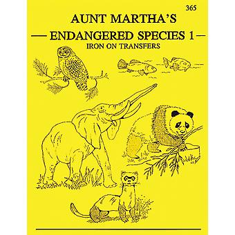 Aunt Martha's Iron On Transfer Books Endangered Species Tpb 365