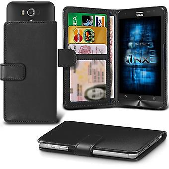 ONX3 Asus Zenfone 4 Leather Universal Spring Clamp Wallet Case With Card Slot Holder and Banknotes Pocket-Black