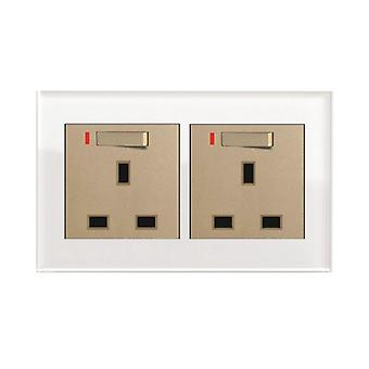 I LumoS AS Luxury White Crystal Glass Double Switched with Neon Wall Plug 13A UK Sockets