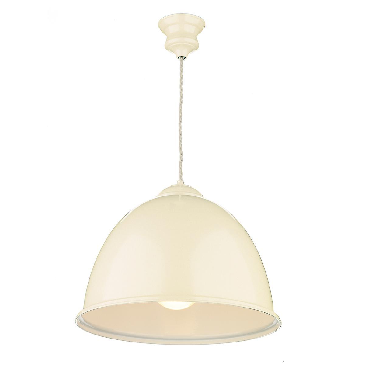 David Hunt EUS0133 Euston Single Light Gloss Cream Pendant With White Inner