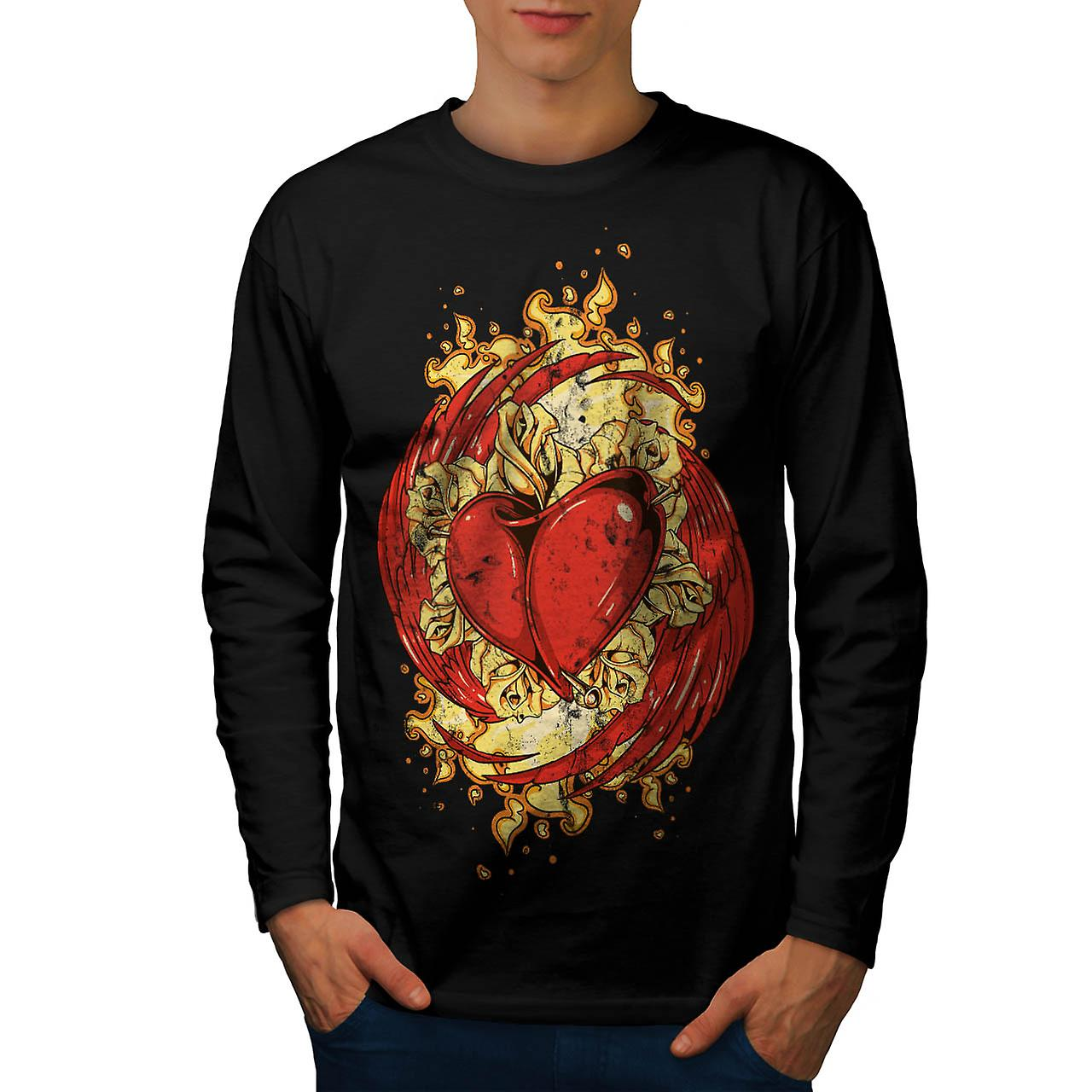 Love Heart Wing Lust Beat Organ Men Black Long Sleeve T-shirt | Wellcoda