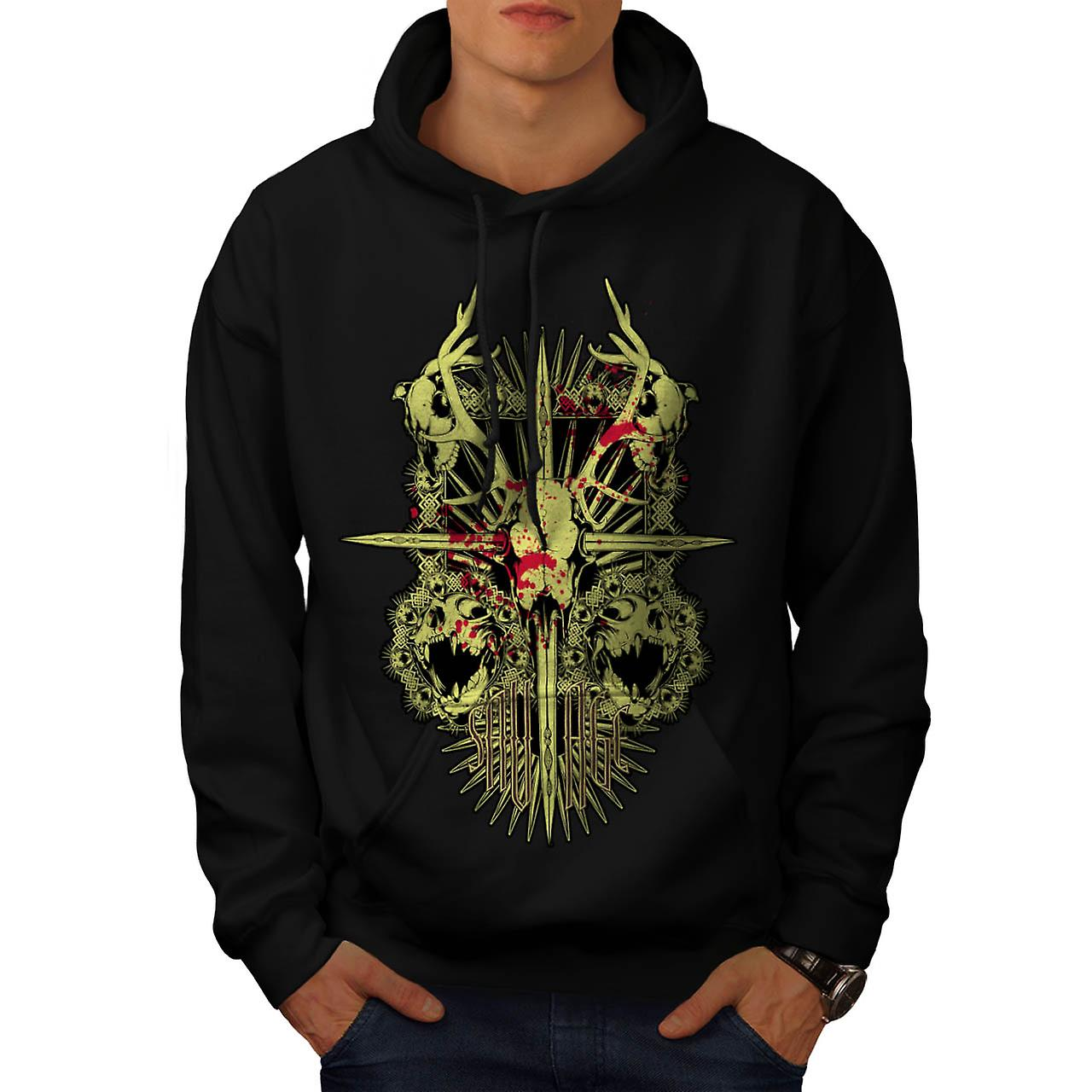 Monstre sauvage mort Demon Skull hommes Black Hoodie | Wellcoda