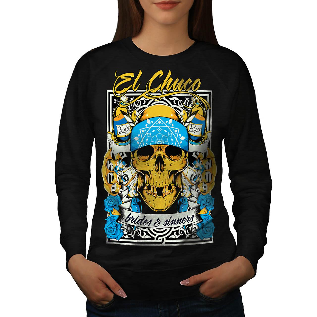 Bride Sin Skull Gangster Women Black Sweatshirt | Wellcoda