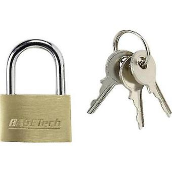 Padlock 24.7 mm Basetech 1362939 Gold-yellow Key