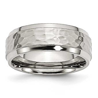 Stainless Steel Engravable Beveled Edge 8mm Hammered and Polished Band Ring - Ring Size: 8 to 14