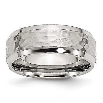 ステンレス彫刻用面取り 8 mm を打ち出しして研磨バンド リング - 指輪のサイズ: 8 に 14