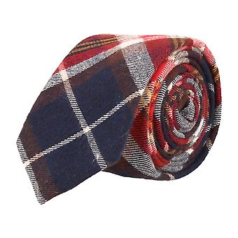 Andrews & co. narrow tie Plaid Navy blue red white yellow