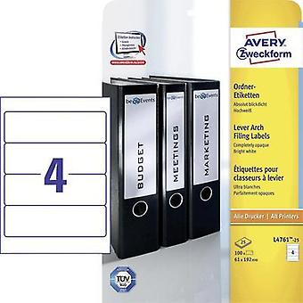 Avery-Zweckform L4761-25 Labels (A4) 61 x 192 mm Paper White 100 pc(s) Permanent Lever arch file labels Inkjet, Laser, C