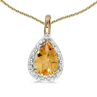 10k Yellow Gold Pear Citrine Pendant with 16