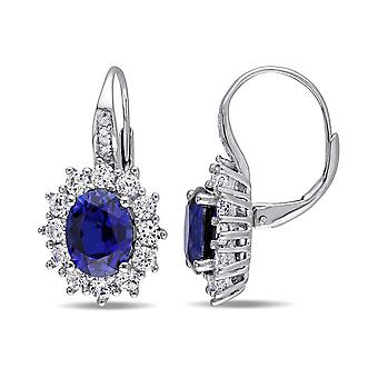 925 Sterling Silver Lab Created Sapphire and Diamond Lever Back Earrings, 3cm (0.04 Cttw, G-H Color, I2-I3 Clarity)