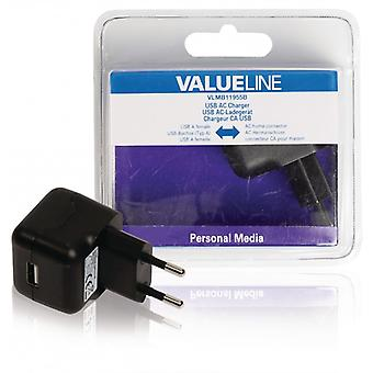 ValueLine AC charger with USB connector, USB A female-AC-contact for home, Black 2 (1)