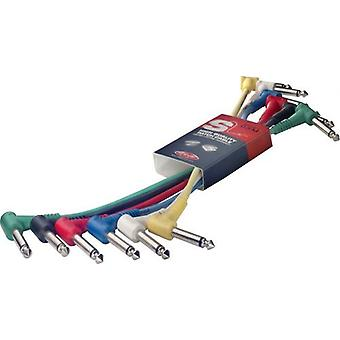 Stagg SPC015LE Metre Angled Jack Patch Cables 6-Pack Multi Colour - 15cm (6in)