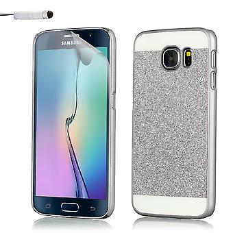 Caso de Glitter para Samsung Galaxy S6 SM-G920 + stylus - plata
