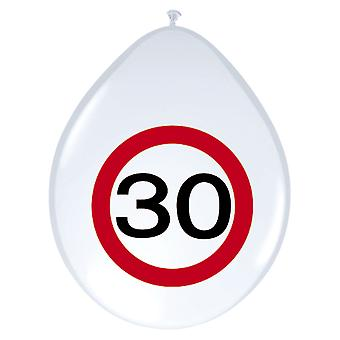 Balloon of balloons 8 St. traffic sign number 30 birthday 30 cm decoration party